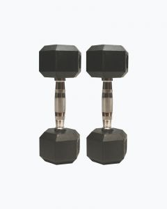 Barbell Coated Hex Rubber Dumbbell Weights Set with Metal Handles