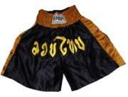 Amber Black w/Gold Outline Yellow Letters Muay Thai Shorts