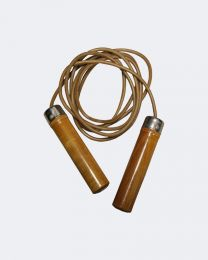 Leather Jump Rope w/Wooden Handles & bearings